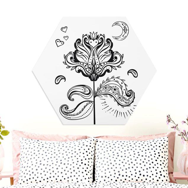 Hexagon Bild Forex - Lotus mit Mond und Herzen