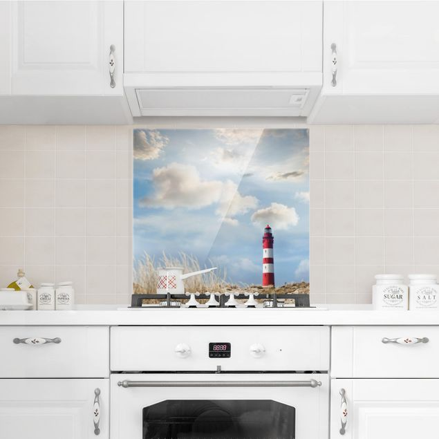 Glas Spritzschutz - Leuchtturm in den Dünen - Quadrat - 1:1