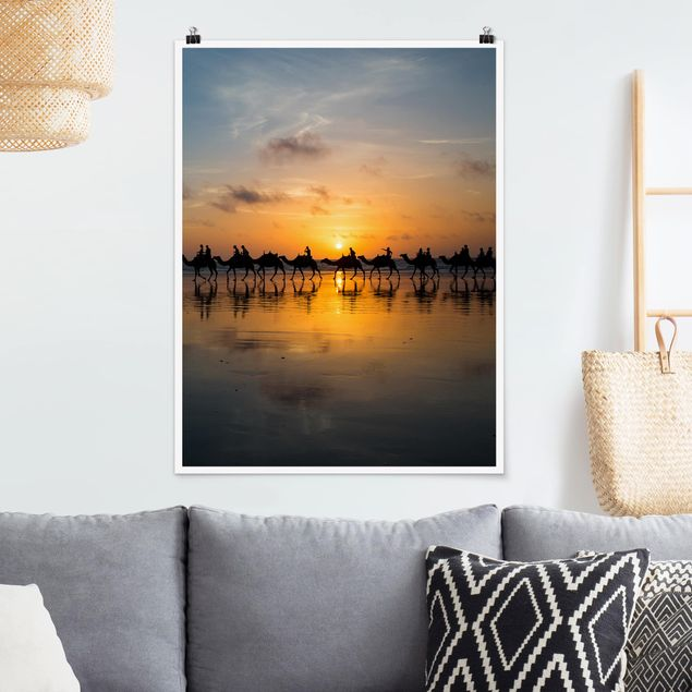 Poster - Kamele im Sonnenuntergang - Hochformat 3:4
