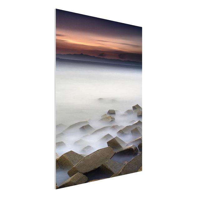 Forex Fine Art Print - Sonnenuntergang im Nebel - Hochformat 4:3