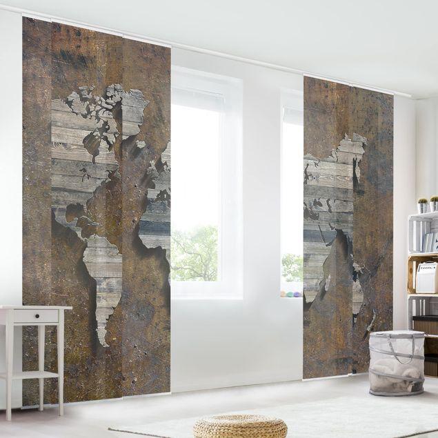 Schiebegardinen Set - Holz Rost Weltkarte - Flächenvorhänge