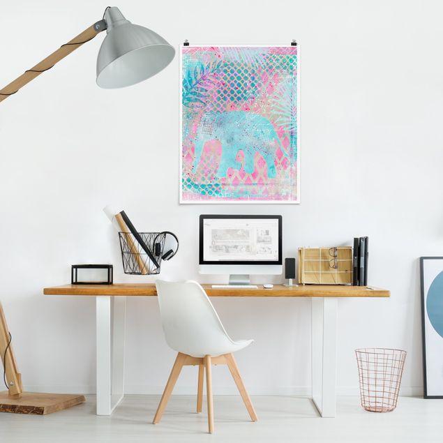 Poster - Bunte Collage - Elefant in Blau und Rosa - Hochformat 4:3