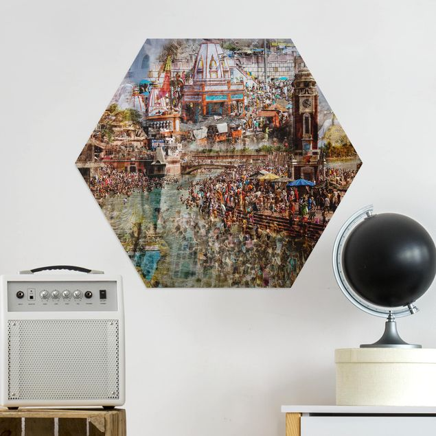 Hexagon Bild Alu-Dibond - Holy India
