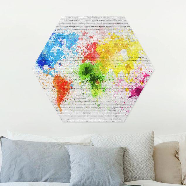 Hexagon Bild Forex - Weiße Backsteinwand Weltkarte