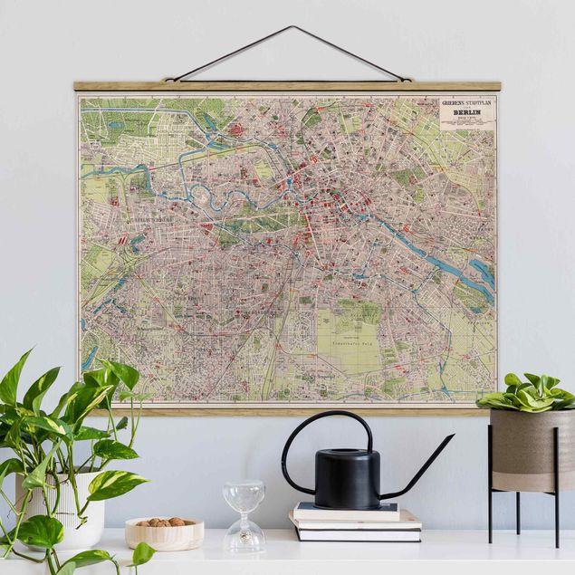 Stoffbild mit Posterleisten - Vintage Stadtplan Berlin - Querformat 3:4