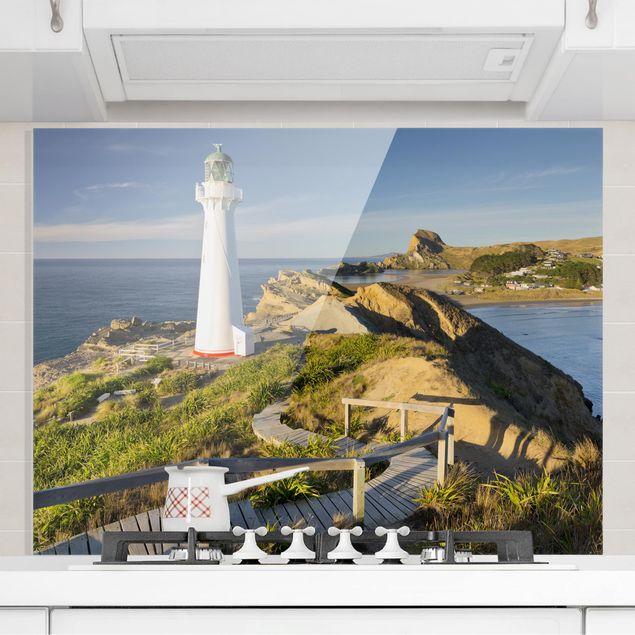 Glas Spritzschutz - Castle Point Leuchtturm Neuseeland - Querformat - 4:3