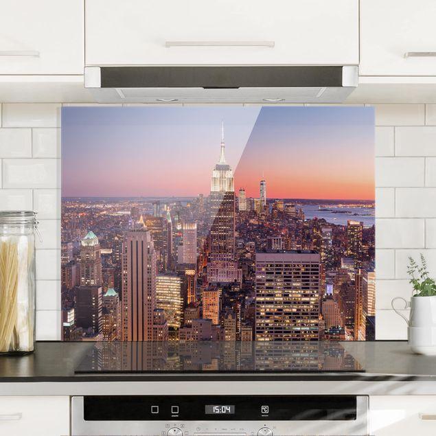 Glas Spritzschutz - Sonnenuntergang Manhattan New York City - Querformat - 4:3