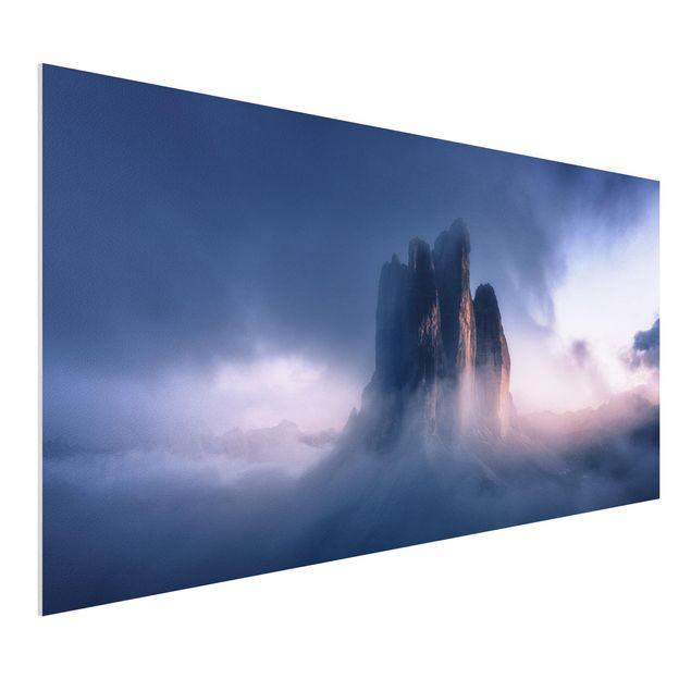 Forex Fine Art Print - Drei Zinnen in blauem Licht - Querformat 1:2
