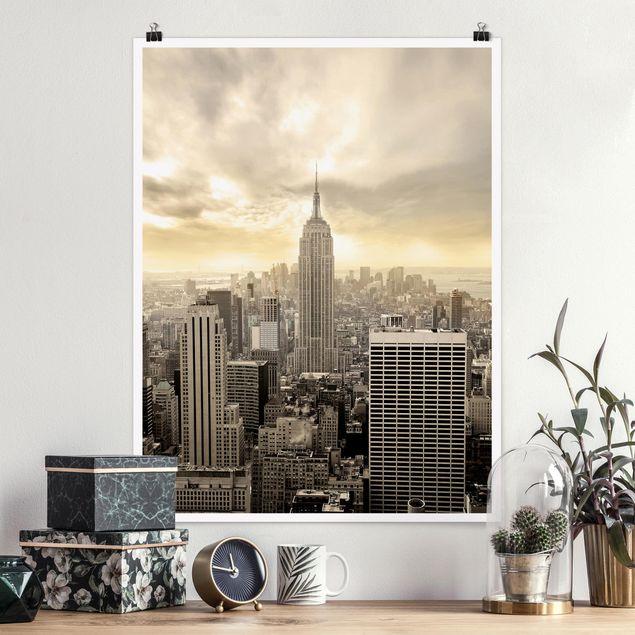 Poster - Manhattan Dawn - Hochformat 3:4