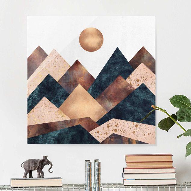 Glasbild - Geometrische Berge Bronze - Quadrat 1:1