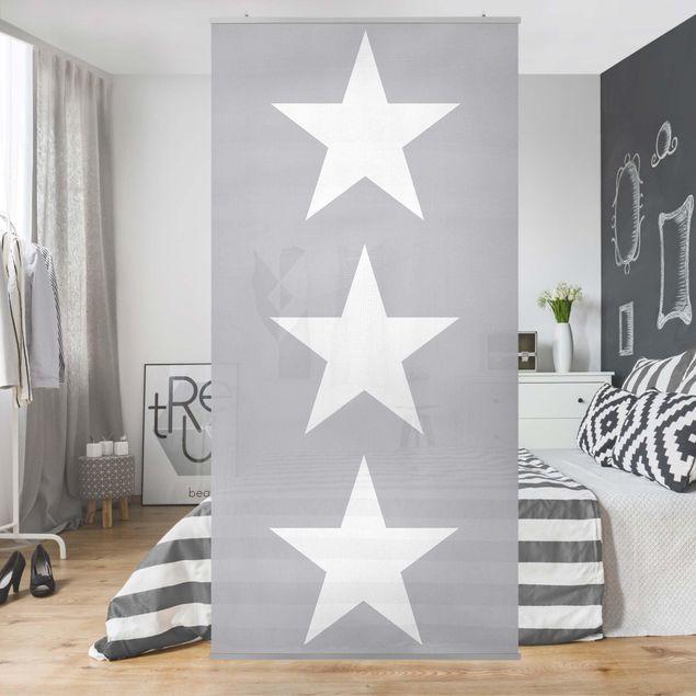 Raumteiler - Große weiße Sterne auf grau 250x120cm
