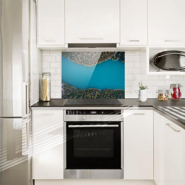 Glas Spritzschutz - Luftbild - Tiefblauer See - Querformat - 4:3