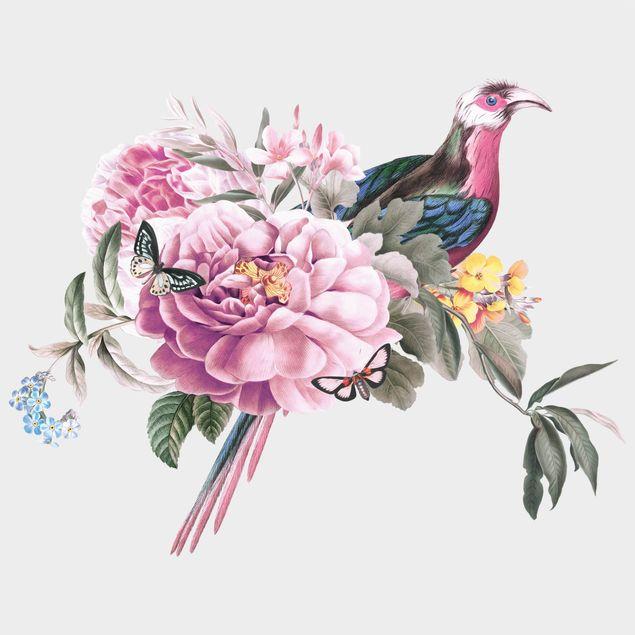 Wandtattoo - Vintage Illustration Paradiesvogel XXL
