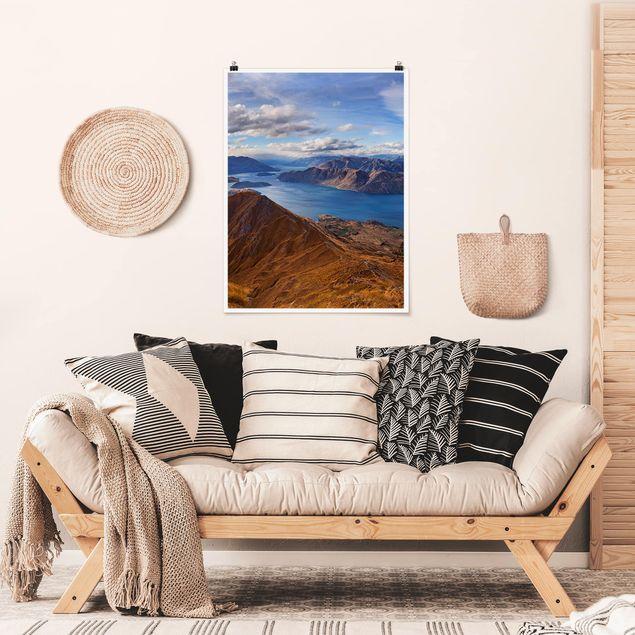 Poster - Roys Peak in Neuseeland - Hochformat 3:4