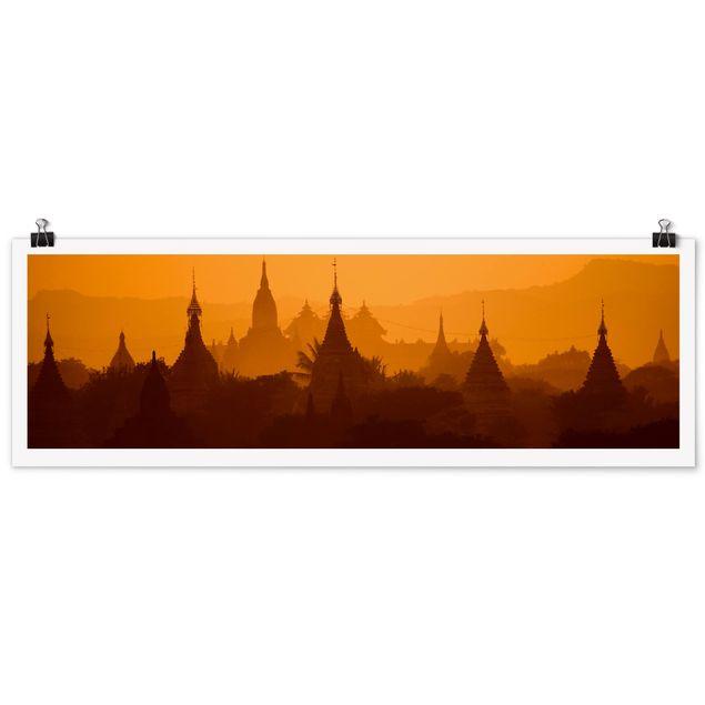 Poster - Tempelstadt in Myanmar - Panorama Querformat