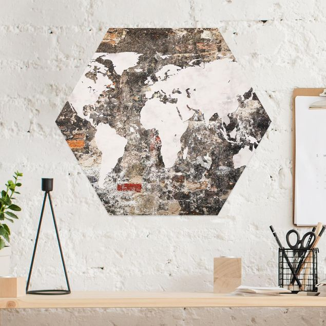 Hexagon Bild Alu-Dibond - Alte Mauer Weltkarte