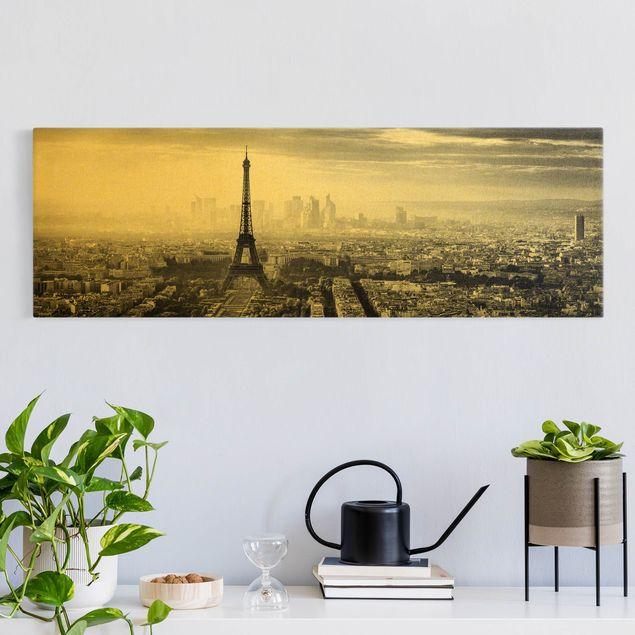 Leinwandbild Gold - Der Eiffelturm von Oben Schwarz-weiß - Panorama 3:1