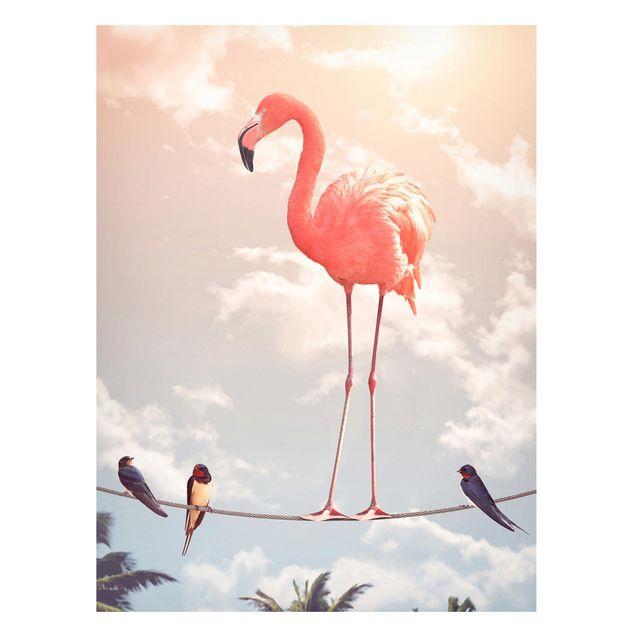 Magnettafel - Jonas Loose - Himmel mit Flamingo - Memoboard Hochformat 4:3