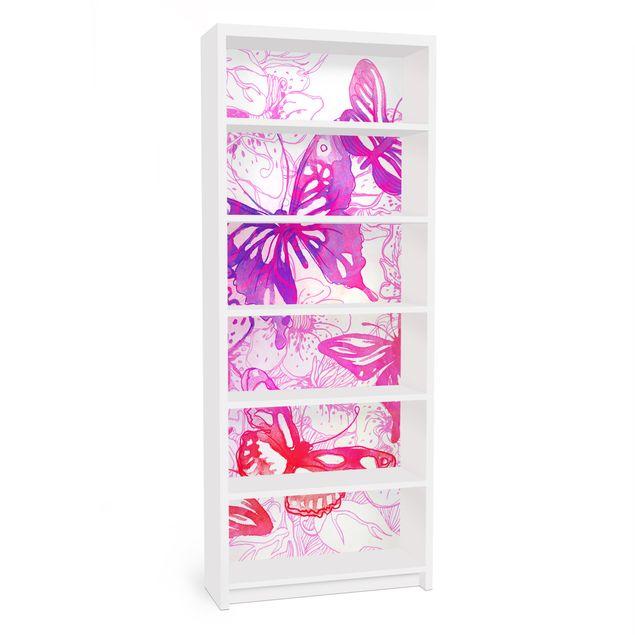 Möbelfolie für IKEA Billy Regal - Klebefolie Schmetterlingstraum
