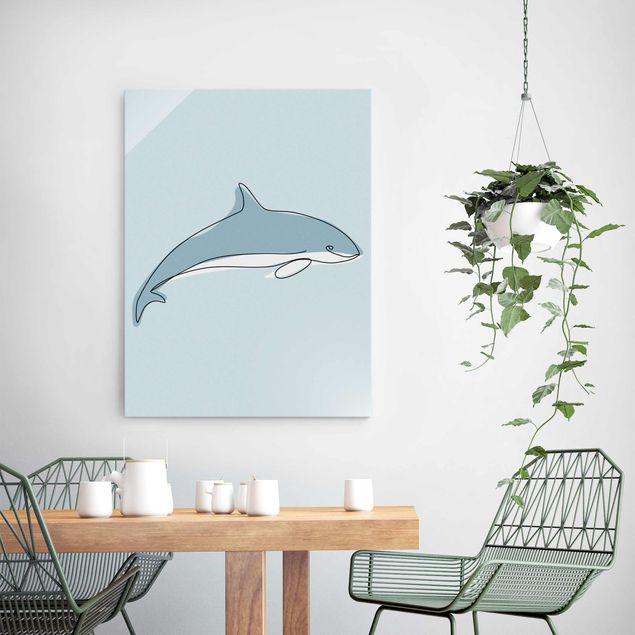 Glasbild - Delfin Line Art - Hochformat 4:3