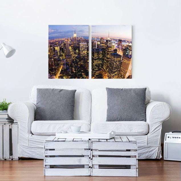 Leinwandbild 2-teilig - New York Skyline bei Nacht - Hoch 3:4