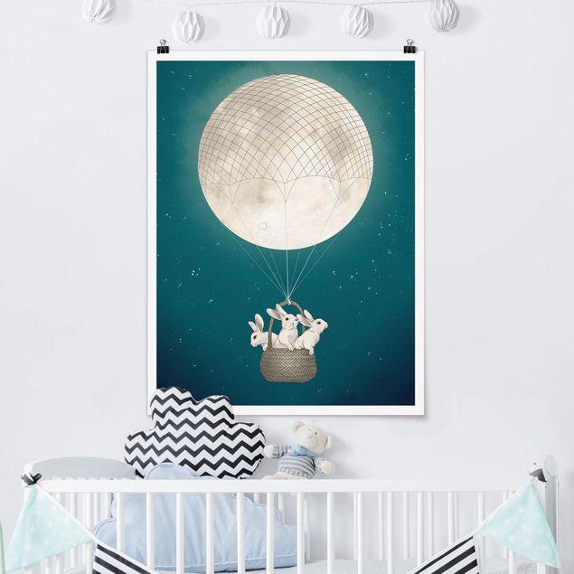 Poster - Illustration Hasen Mond-Heißluftballon Sternenhimmel - Hochformat 4:3