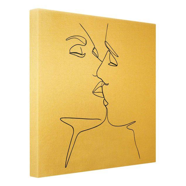 Leinwandbild Gold - Line Art Kuss Gesichter Schwarz Weiß - Quadrat 1:1