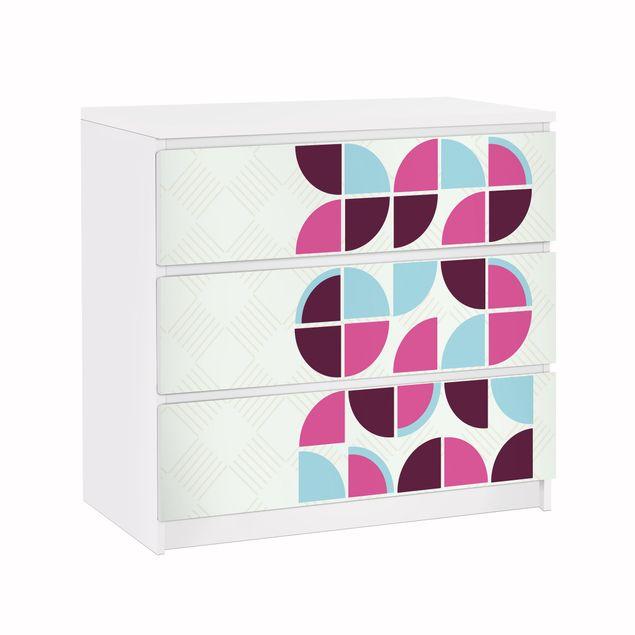 Möbelfolie für IKEA Malm Kommode - Klebefolie Retro Kreise Musterdesign