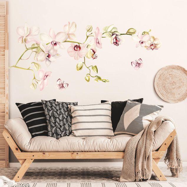 Wandtattoo - Orchideenzweig und Schmetterling in rosé