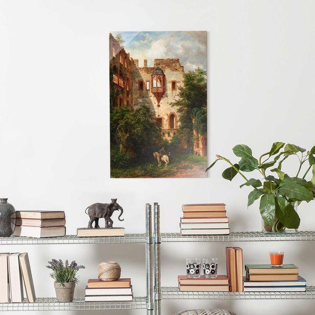 Glasbild - Carl Ludwig Fahrbach - Im Hof des Heidelberger Schlosses - Hochformat 3:2