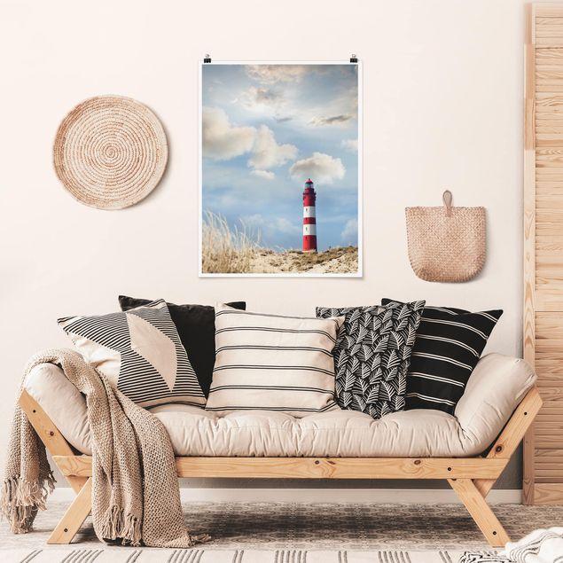 Poster - Leuchtturm in den Dünen - Hochformat 3:4