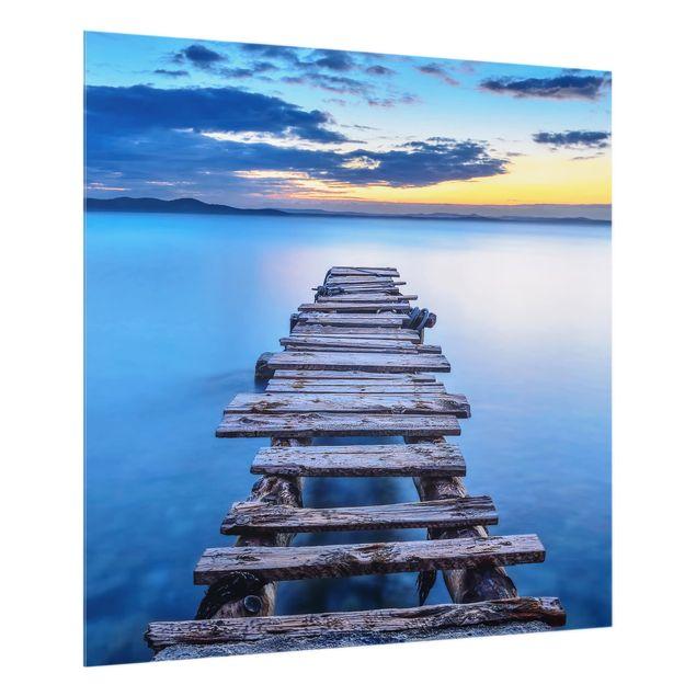 Glas Spritzschutz - Steg ins ruhige Meer - Quadrat - 1:1