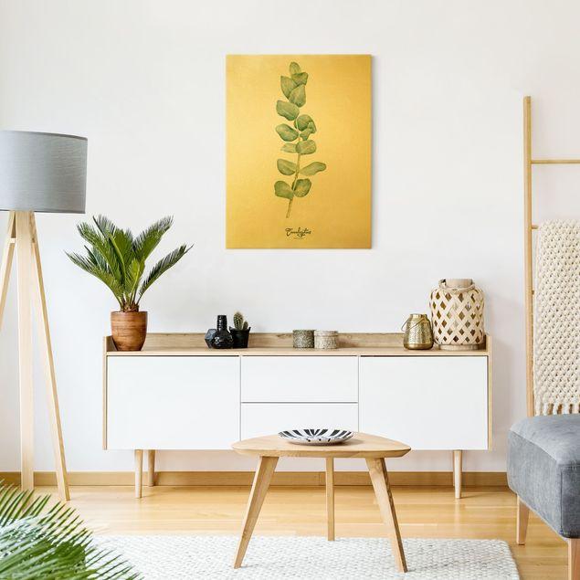 Leinwandbild Gold - Aquarell Botanik Eukalyptus - Hochformat 3:4