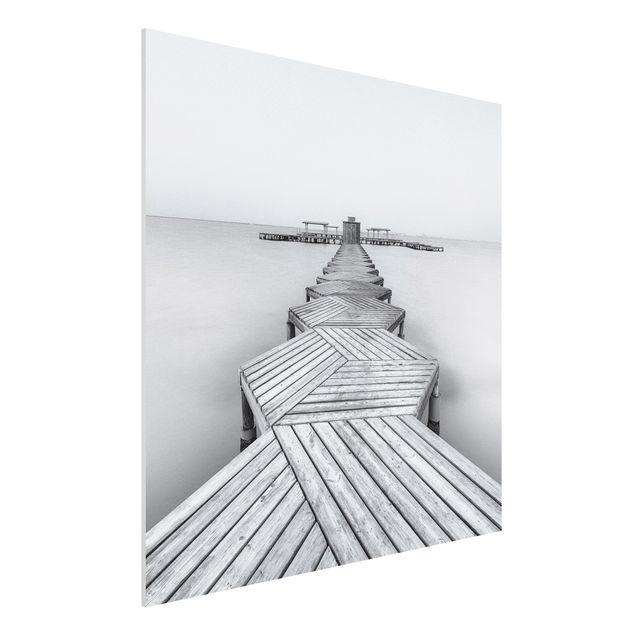 Forex Fine Art Print - Hölzerner Pier und Schwarz-weiß - Quadrat 1:1