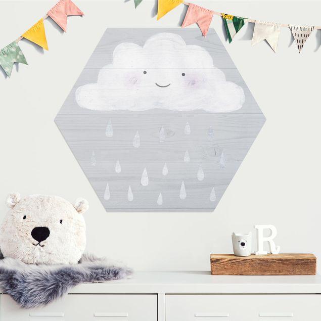 Hexagon Bild Alu-Dibond - Wolke mit silbernen Regentropfen