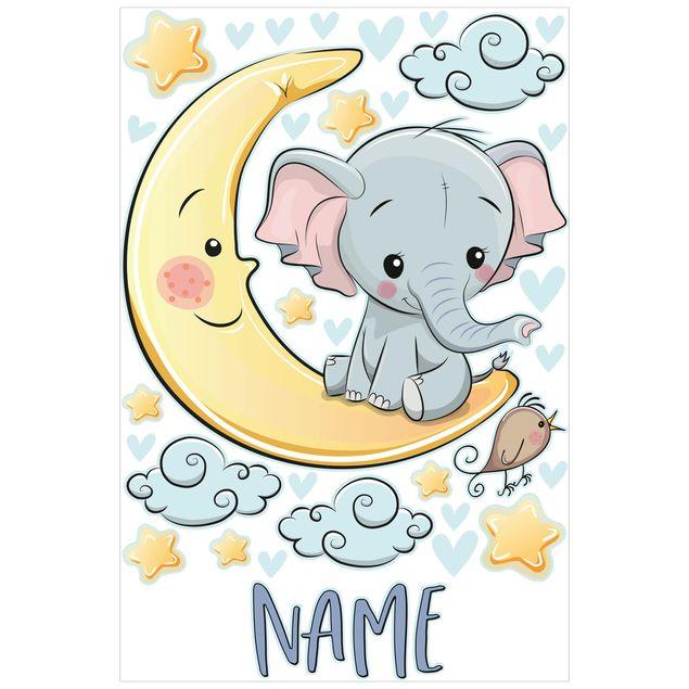 Wandtattoo mit Wunschtext - Elefant Mond mit Wunschname