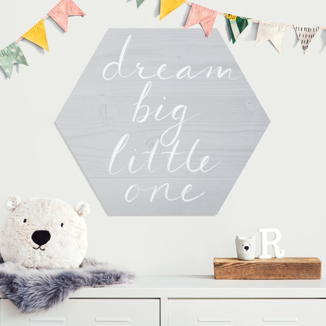 Hexagon Bild Forex - Holzwand grau - Dream big