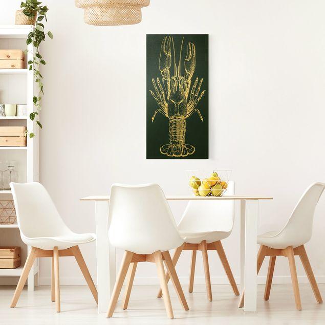 Leinwandbild Gold - Illustration Flusskrebs auf Blau - Hochformat 1:2