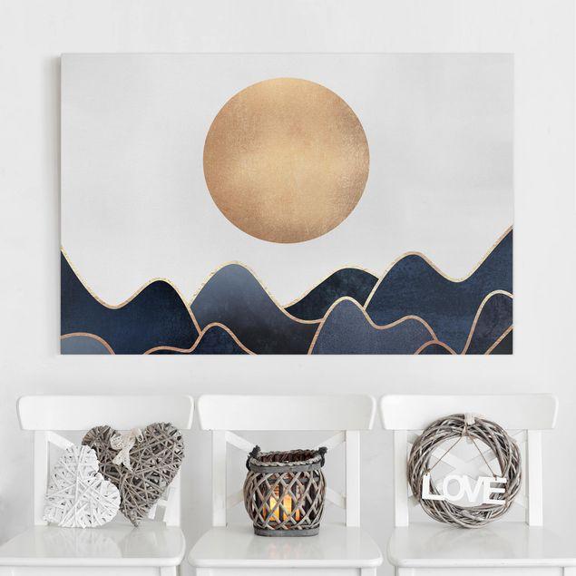 Leinwandbild - Goldene Sonne blaue Wellen - Querformat 2:3