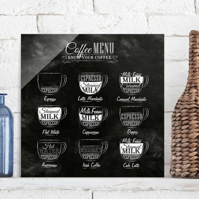Glasbild - Kaffeesorten Kreidetafel - Quadrat 1:1