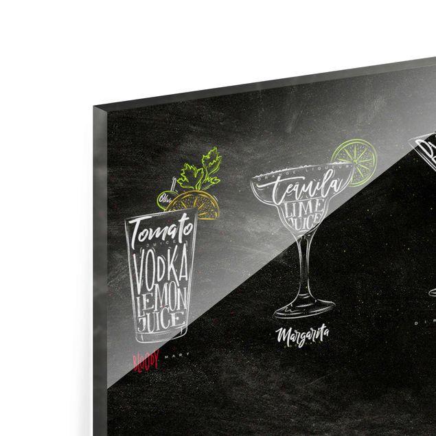 Glasbild - Cocktail Menu - Panorama Quer