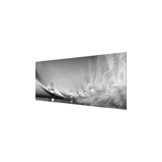 Glasbild - Story of a Waterdrop Black White - Panorama Quer