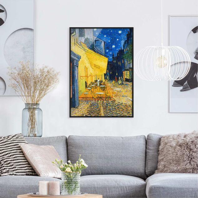 Bild mit Rahmen - Vincent van Gogh - Café-Terrasse in Arles - Hochformat 3:4