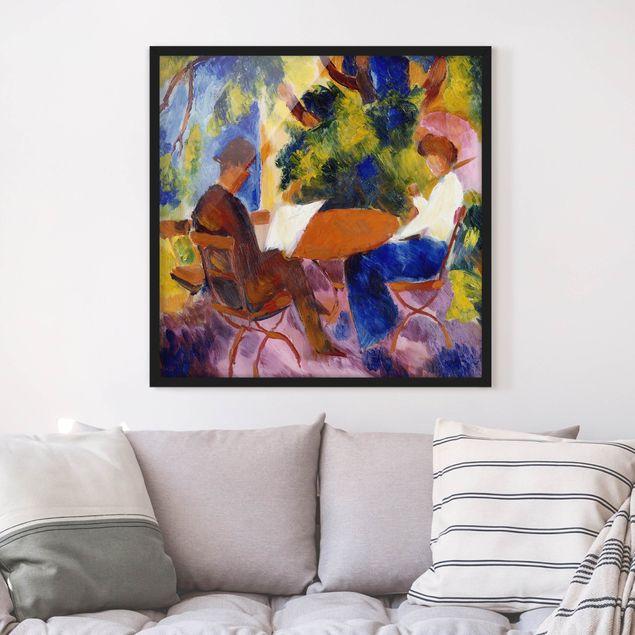 Bild mit Rahmen - August Macke - Paar am Gartentisch - Quadrat 1:1