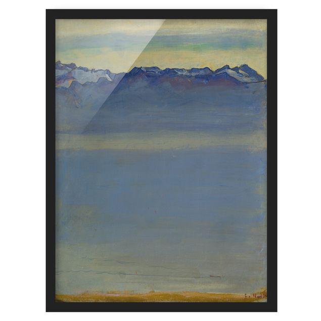 Bild mit Rahmen - Ferdinand Hodler - Genfer See mit Alpen - Hochformat 3:4