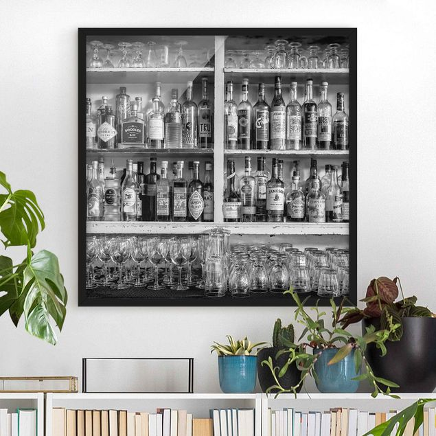 Bild mit Rahmen - Bar Schwarz Weiß - Quadrat 1:1