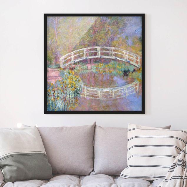 Bild mit Rahmen - Claude Monet - Brücke Monets Garten - Quadrat 1:1