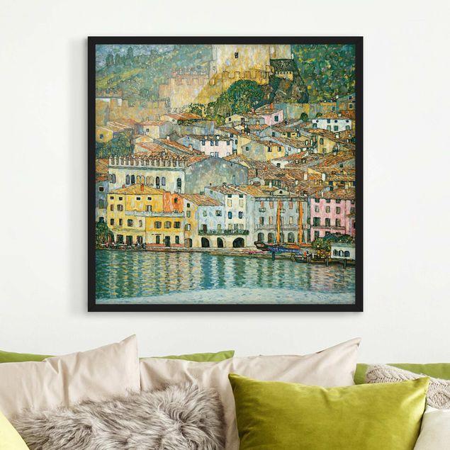 Bild mit Rahmen - Gustav Klimt - Malcesine am Gardasee - Quadrat 1:1