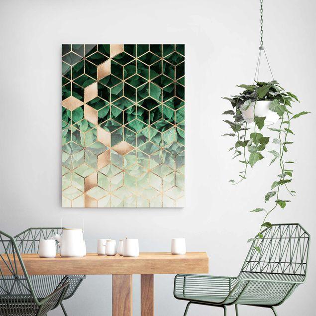 Glasbild - Grüne Blätter goldene Geometrie - Hochformat 4:3