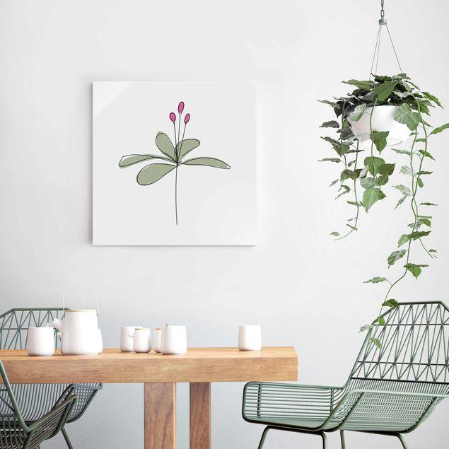 Glasbild - Seerose Line Art - Quadrat 1:1